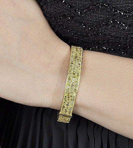 Bracelet Bangle Diamond Baguette (Solid 18k Yellow Gold Bangle Pave Natural 7.16 Ct Baguette Diamond Bracelet WEDDING Fine Jewelry)