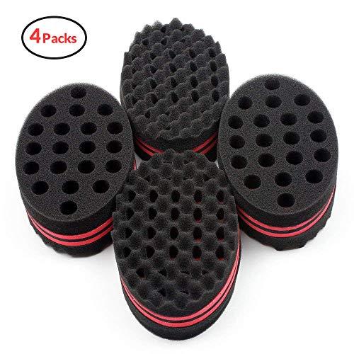 HALLO Big Holes Hair Brush Sponge Twist Wave Barber Tool For Dreads Afro Locs Twist Curl Coil Black(4 Packs)