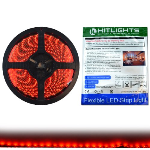 (HitLights Weatherproof Red LED Light Strip,  3528, 300 LEDs, 16.4' Feet, 12V DC, 72 Lumen per Foot, IP-65 Adhesive Backed for Easy Installation, LED Tape Light)