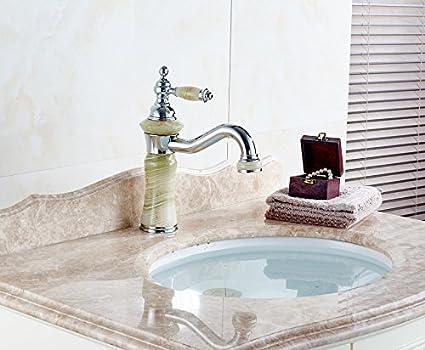 wymbs accesorios para muebles creativo decoración baño grifo lavabo lavabo de europeo de oro Jade cromado