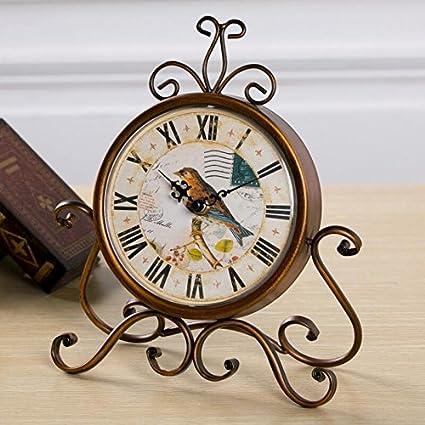 LTOOD Los países americanos Vintage Reloj silencio de hierro Estilo Europeo salón dormitorio estudio reloj de