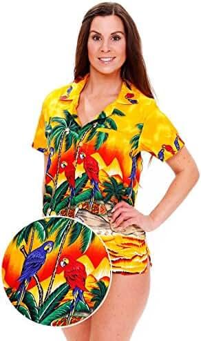 Funky Hawaiian Blouse Women Short-Sleeve Front-Pocket Surf Parrot Multiple Colors