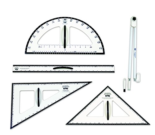 Learning Advantage Dry Erase Magnetic Measurement Set Whiteboard Compass, Protractor, Ruler and Triangles (Demonstration Dry Erase)