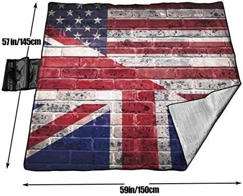Tyyyy Grande Coperta Impermeabile per Picnic all'aperto American British Flag Wall Sandproof Beach Mat Tote per Campeggio Escursionismo Erba Viaggiare