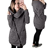 Gillberry Womens Casual Hooded Jacket Coat Long Zipper Sweatshirt Outwear Tops (Dark Gray, XXL)