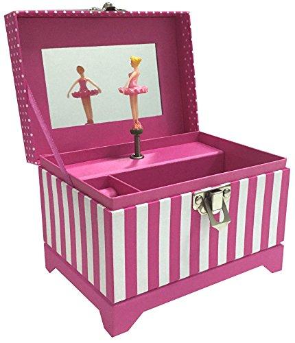 Musical Ballerina Jewelry Box Pink Ribbon Mirror