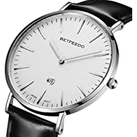 BETFEEDO Men's Ultra-Thin Quartz Analog Date Wrist Watch with Black Leather Strap (White/Black)