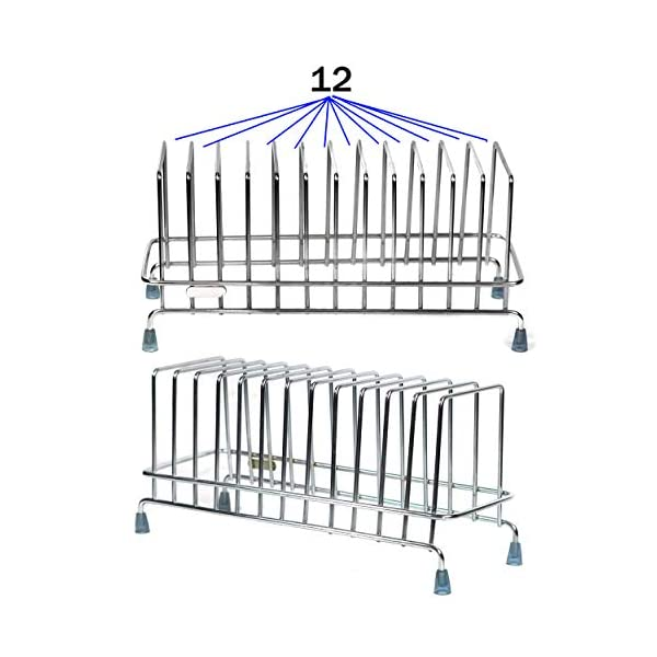 TULMAN Stainless Steel Plate Stand for Kitchen Dish Storage Rack Utensile Holder - 33x13x16 cm - 12 Plate Storage