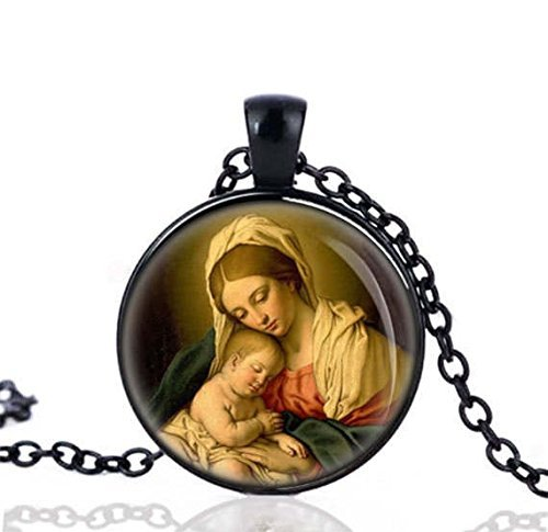 Our Lady Mother Mary and Baby Jesus Black Necklace Catholic Medal Religious Pendant w -