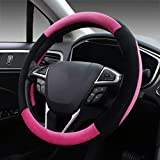 Image of SEG Direct Pink Plush Winter Auto Car Steering Wheel Cover Universal 15 inch