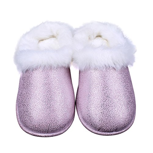 Ofoot Womens In Eco-pelle Scamosciata Memory Foam Accogliente Slip On Pantofole Invernali Con Bling Bling Rosa