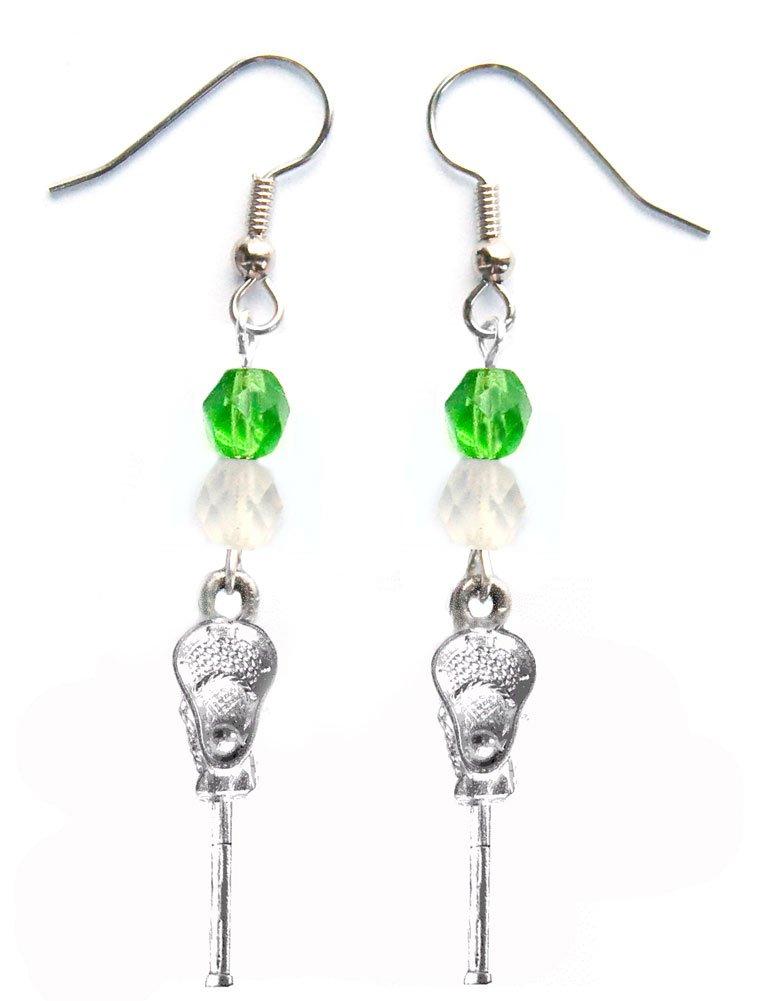 ''Lacrosse Stick & Ball'' Lacrosse Earrings (Team Colors Kelly Green & White)