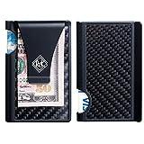 Minimalist Wallet for Men and Women & RFID Credit Card Holder  Ridge Wallet Carbon Fiber & Aluminium- Great Gift Idea by Arfkey