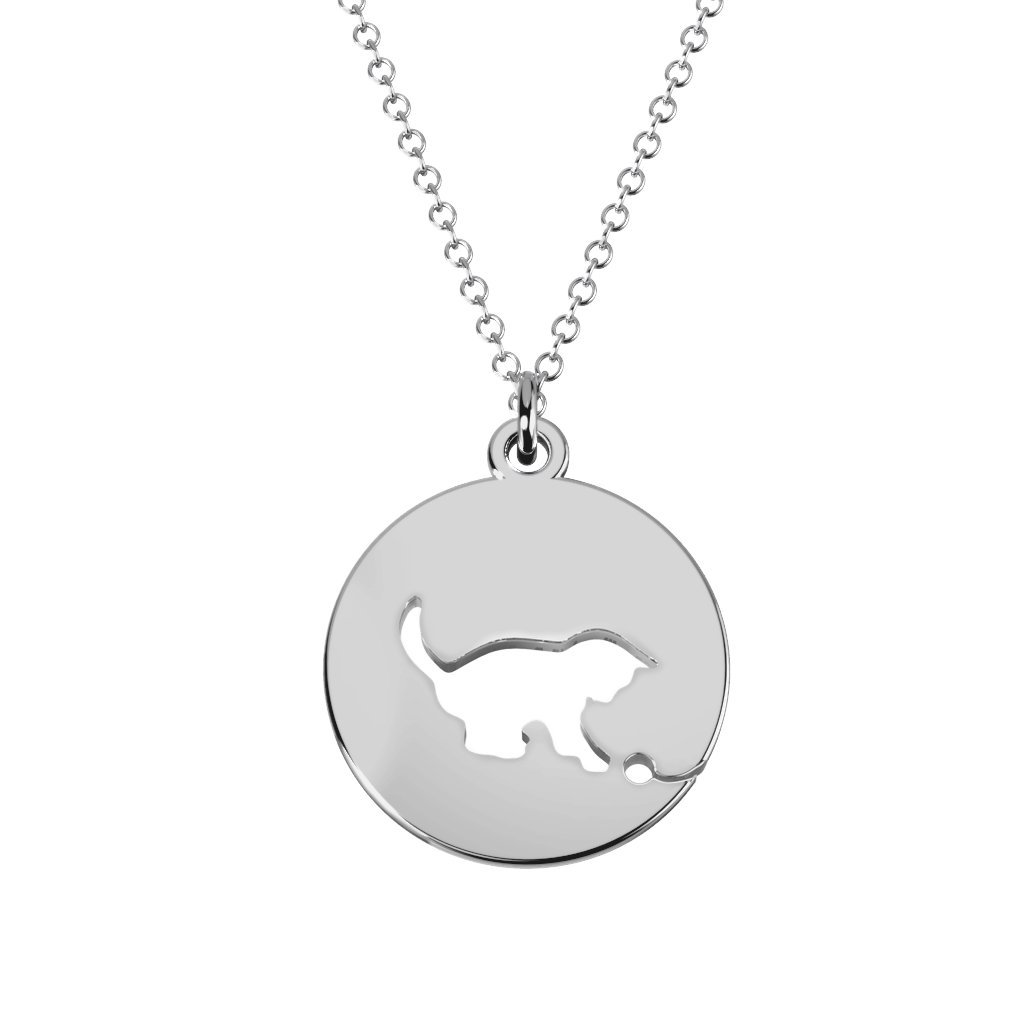 Sterling Silver Kitten Cutout Disc Necklace by JEWLR