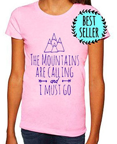 The Mountains Are Calling And I Must Go Youth Girls Tee. Toddler/ Kid's Tees. Pink.