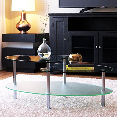 Frosted Glass Top Table (Ryan Rove Becca 38 Inch Oval Two Tier Glass Coffee Table - Clear Top and Frosted Bottom Glass)