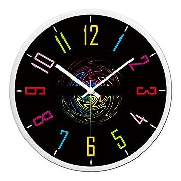 FLYRCX Moderno Reloj Digital de Cuarzo de Color Personalidad creadora Europea Reloj de Pared de la habitación,E-14 Pulgadas: Amazon.es: Hogar