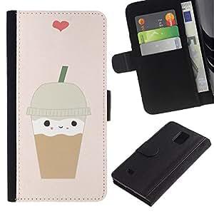 Be Good Phone Accessory // Caso del tirón Billetera de Cuero Titular de la tarjeta Carcasa Funda de Protección para Samsung Galaxy Note 4 SM-N910 // ice cream coffee heart brown cute