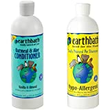 Earthbath Hypo-Allergenic Tearless Shampoo for Dogs and Cats, 16 oz, and Earthbath Oatmeal and Aloe Conditioner for Dogs and Cats, Vanilla Scent,16 oz