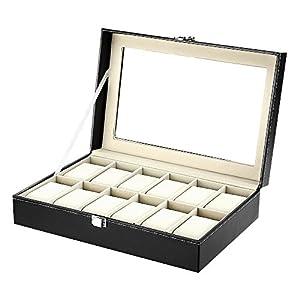 Caja de Relojes Estuche para Relojes y joyeros con 12 Compartimentos 51w6xEj9NLL