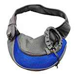 BERTERI Pet Carrier Sling, Hands Free Reversible Pet Shoulder Bag, Adjustable Breathable Pet Travel Carrier for Dogs Cats Rabbits Puppies(Blue)