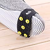 AgoHike 1pair Delicate Snow Ice Climbing Anti Slip Spikes Grips Crampon Cleats 5-Stud Shoes Cover Fasten Overshoes to Your Shoes
