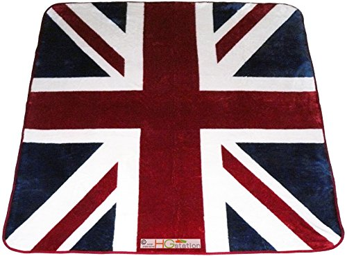 (HGS 79x94 Large Queen United Kingdom UK Union Jack British Flag Great Britain England London Soft Faux Mink Plush Blanket)