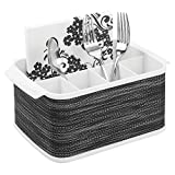 mDesign Plastic Cutlery Storage Organizer Caddy Tote Bin with Handles for Kitchen Cabinet or Pantry - Holds Forks, Knives, Spoons, Napkins - Indoor or Outdoor Use, Woven Accent - White/Graphite Gray