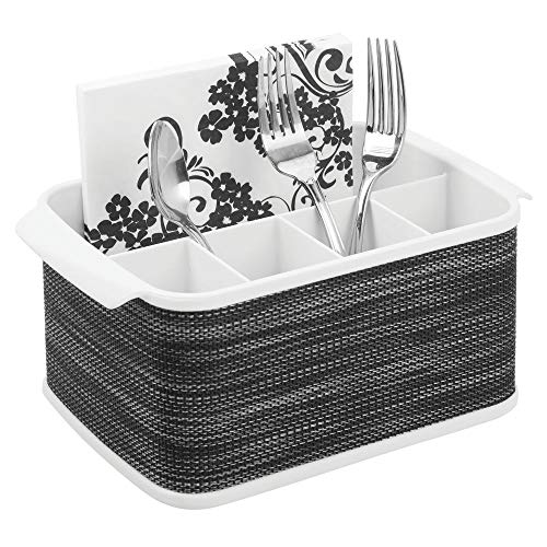 (mDesign Plastic Cutlery Storage Organizer Caddy Tote Bin with Handles for Kitchen Cabinet or Pantry - Holds Forks, Knives, Spoons, Napkins - Indoor or Outdoor Use, Woven Accent - White/Graphite Gray)