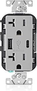 Leviton T5833-GY 20-Amp Type-C USB Charger/Tamper Resistant Receptacle, Gray