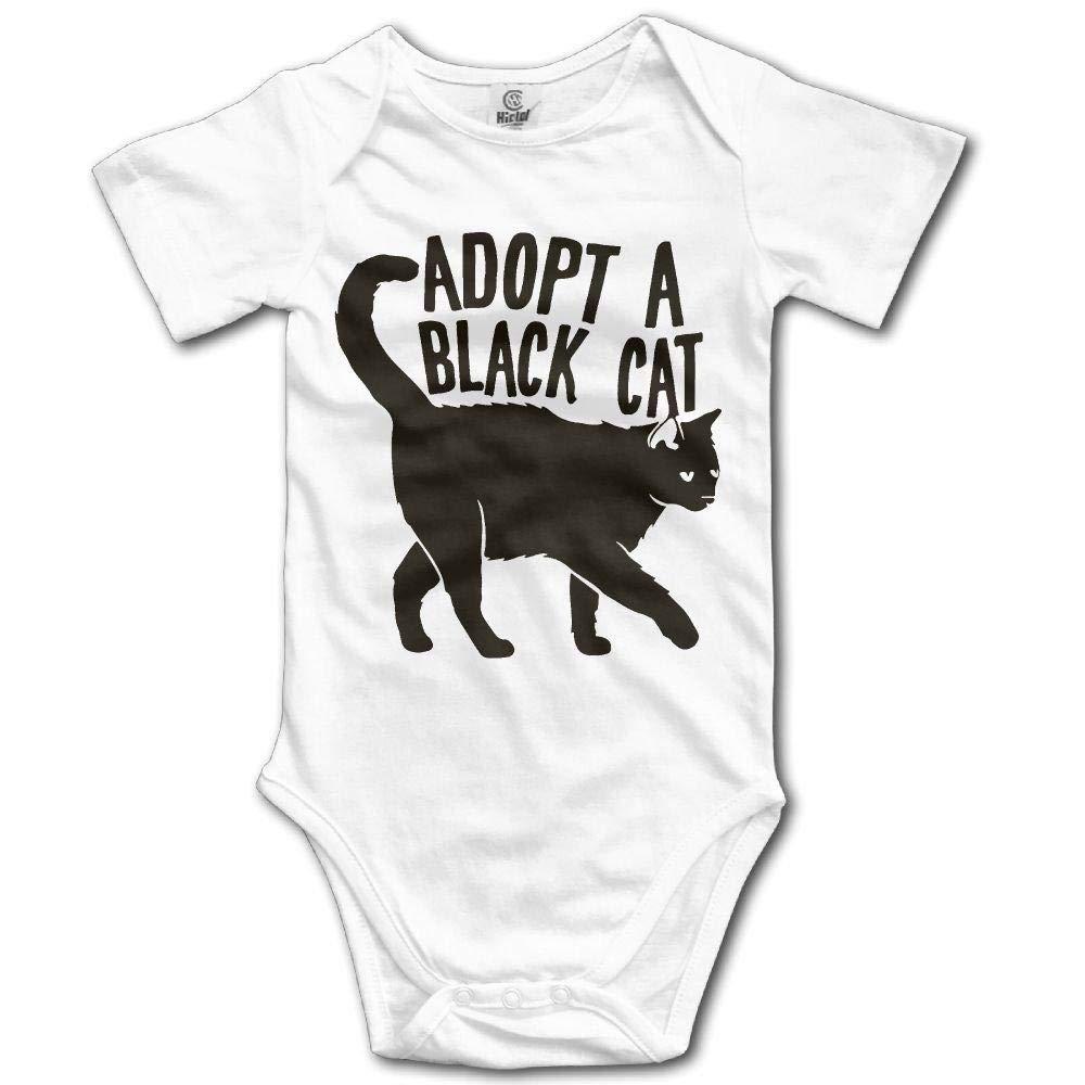 Newborn Baby Black Cat Short Sleeve Romper Onesie Bodysuit Jumpsuit