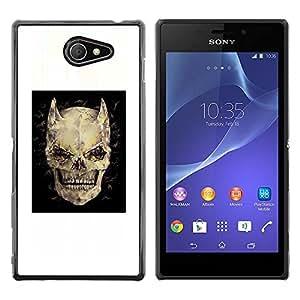 MobileHut / Sony Xperia M2 / Devil Skull Horns Black Poster Death / Delgado Negro Plástico caso cubierta Shell Armor Funda Case Cover