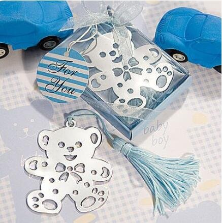 Book Lovers Collection Metal Blue Teddy Bear Bookmark Favors (48)