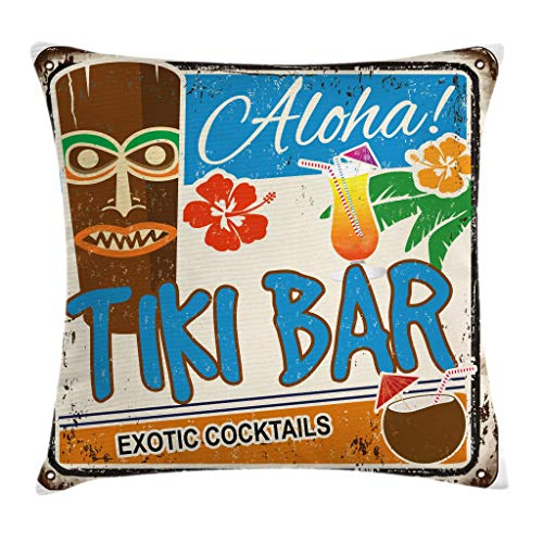 Ambesonne Tiki Bar Decor Throw Pillow Cushion Cover, Rusty Vintage Sign Aloha Exotic Cocktails Coconut Drink Antique Nostalgic, Decorative Square Accent Pillow Case, 16 X 16 Inches, Multicolor