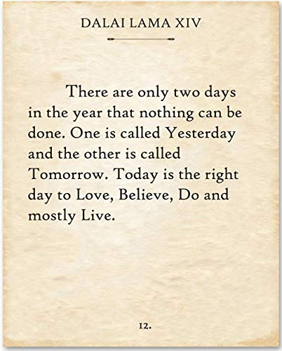 - Dalai Lama - There Are Only Two Days. - 11x14 Unframed Typography Book Page Print - Makes a Great Gift Under $15 for Book Lovers