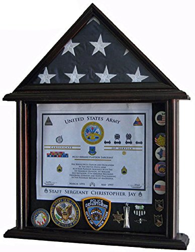 Mahogany Solid Wood Shadow Box For 3' X 5' Flag Folded Not For Burial Flag Glass by Display Case