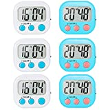 6 Pack Digital Kitchen Timer for Teacher Classroom Small Timers for Kids Magnetic Back Stand ON/OFF Switch White and Blue
