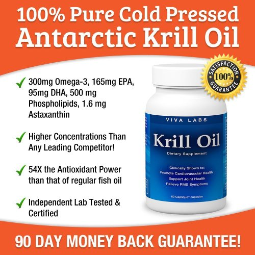 Viva Labs Krill Oil (Formerly Everest Nutrition): 100% Pure Cold Pressed Antarctic Krill Oil - Highest Levels of Omega-3s in the Industry, 1250mg/serving, 120 Capliques