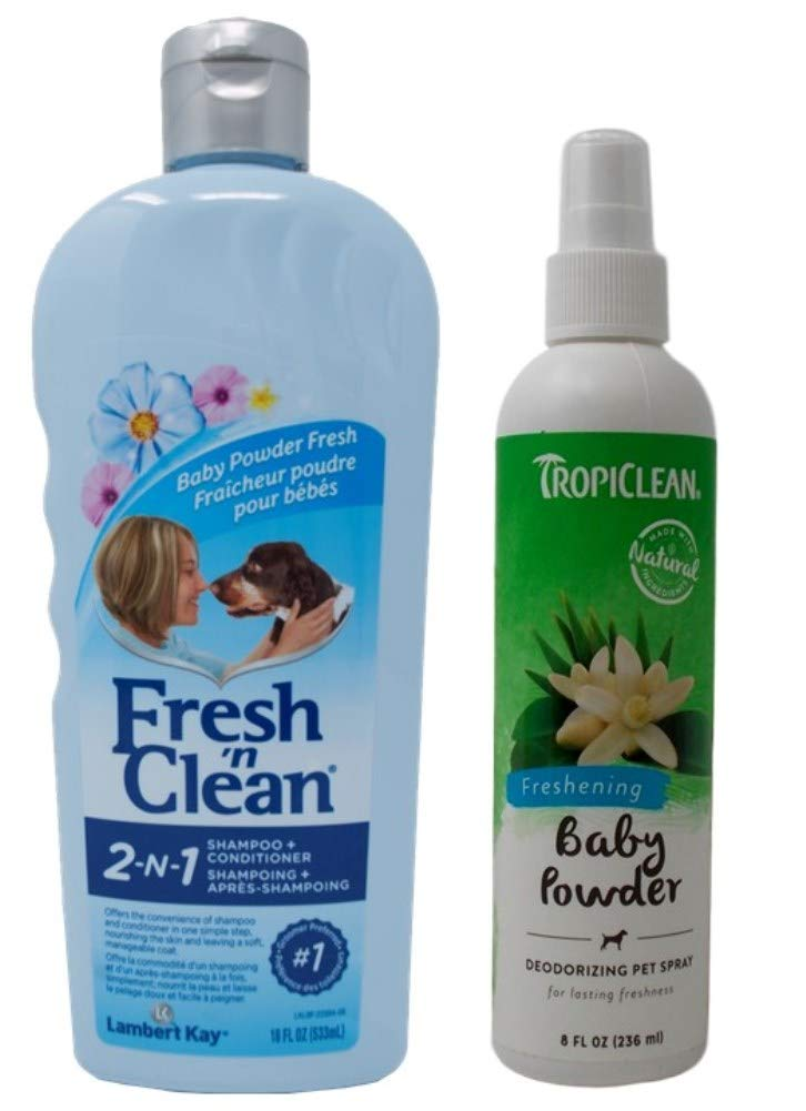 Fresh 'n Clean Shampoo and Conditioner Plus Tropiclean Spray | Baby Powder Freshening Dog Grooming Bundle (8-18 Ounces)