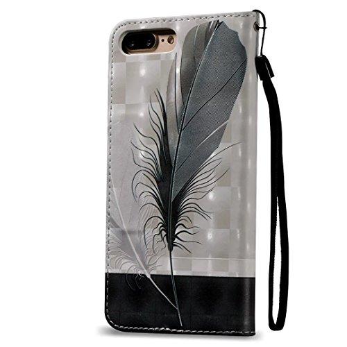 Vandot para iPhone 7 Plus PU Funda Serie Bolsa Modelo Colorido con Bonito Hermoso Patrón de Impresión Dibujo Monedero de la Cartera de la Cubierta Móvil del Bolso del Teléfono Móvil del Proteja la pie FDQC 02