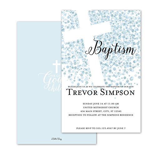 Confetti Dots Personalized Baptism Invitation - Blue