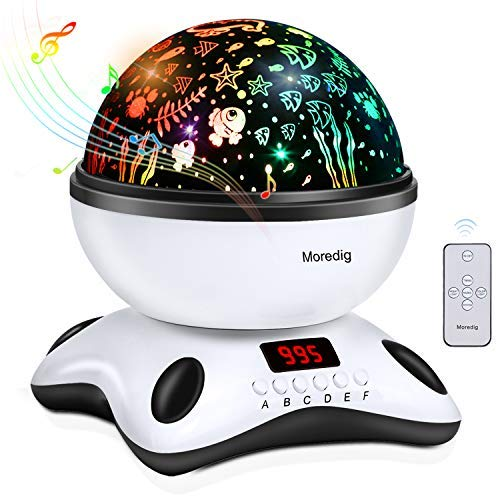(Moredig Night Projector, Remote Control and Timer Design, Touch Sensor and Built-in 12 Songs, 360° Rotating Multicolor Night Lights for Kids - Black)