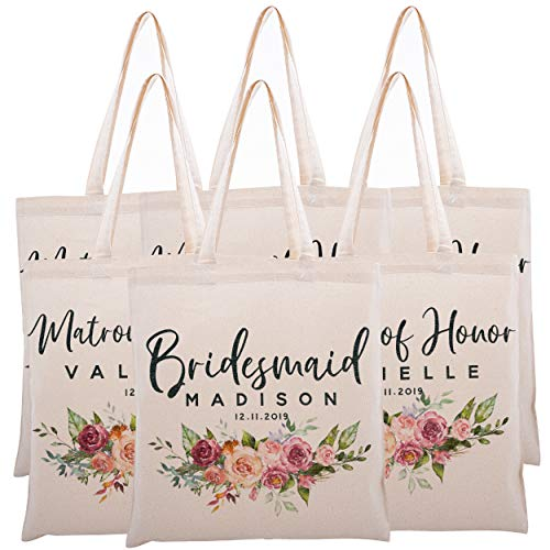 Personalized Tote Bag For Bridesmaids Wedding Customized Bachelorette Party Bag -