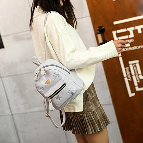 Fashion Bag Small Backpack Shoulder Bag Bag Solid Zipper Style Gray Leather Preppy Girl Women School PTArnP