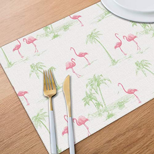 Bghnifs Brewster Sarasota Pink Flamingos Placemats Table Mats Set of 6 Washable Non Slip Heat Insulation Place Mats Dining Room Kitchen Decor 12 X 18 (By Sarasota Patio Design)