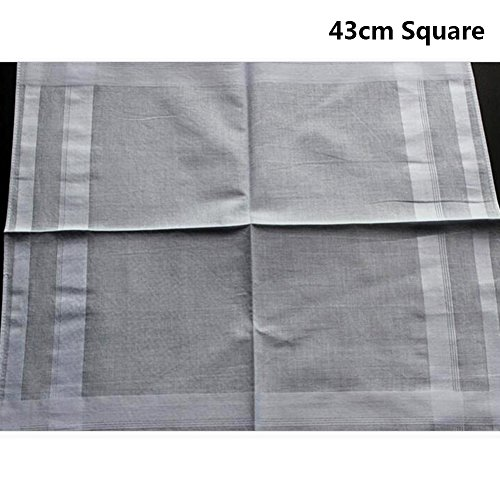 2 Pattern -Men's Cotton Handkerchiefs Solid White Large 17x17'' Hankies by MileyMarla (Image #3)