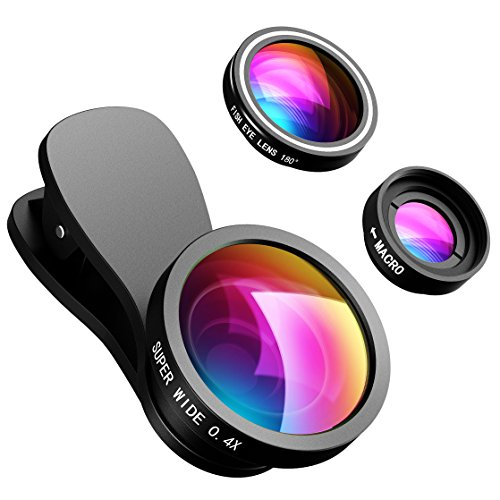 VicTsing Phone Lens, 【2 Clips】3 in 1 Fisheye Lens, 10X Macro Lens + 180 Degree Fisheye Lens + 0.4X Wide Angle Lens, Cell Phone Lens Camera Lens Kits for iPhone 7, 6s, 6, 5s & Most Smartphones, Not for IPHONE X