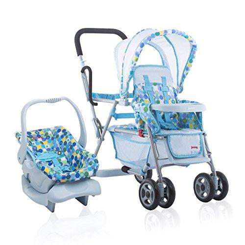 Joovy Toy Doll Caboose Pretend Play Stroller & Car Seat, Blu