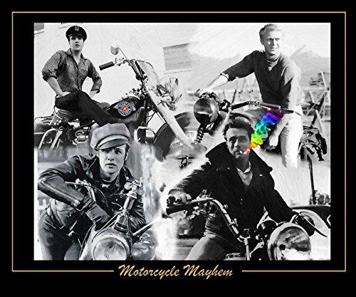 - XL Art Poster 20 x 24 Motorcycle Mayhem Collage Elvis Presley Steve Mcqueen Marlon Brando James Dean