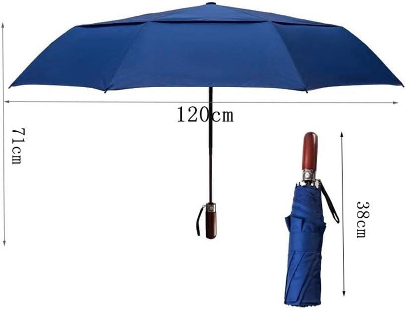 YSLJH Double-Layer Automatic Folding Umbrella Outdoor Umbrella Men Women Travel Umbrella Three-fold Umbrella Solid Wood Handle Blue to Accommodate 2-3 People